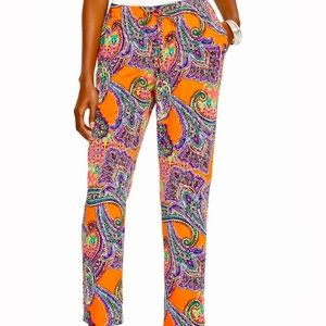 LRL Paisley Tapered Fit Elastic Waist Pants